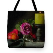 Apples Rose And Candlestick On Tray Stl712923 Tote Bag