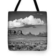 Approaching Monument Valley Black And White Tote Bag