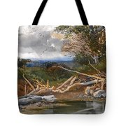 Approaching Storm In A Wooded Landscape Tote Bag