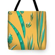 Aqua Design On Gold Tote Bag