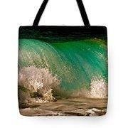 Aqua Green Wave Tote Bag