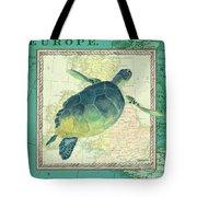 Aqua Maritime Sea Turtle Tote Bag