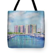 Aqua Towers And The Marina In Long Beach Tote Bag by Debbie Lewis
