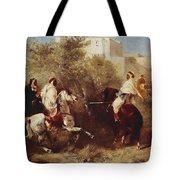 Arab Horsemen Tote Bag by Eugene Fromentin