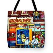 Arachides Depot Candy Shop Painting Rue De L'eglise Verdun Montreal Hockey Art Carole Spandau        Tote Bag