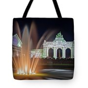 Arcade Du Cinquantenaire Fountain At Night - Brussels Tote Bag by Barry O Carroll