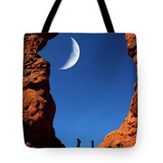 Arch In Canyon Rock Formations Silhouetter Of Hiker Tote Bag