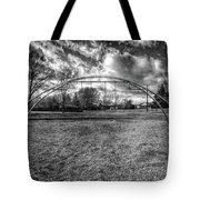 Arch Swing Set In The Park 76 In Black And White Tote Bag