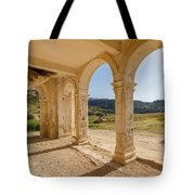 Arches And Stairs Of Derelict Agios Georgios Church Tote Bag