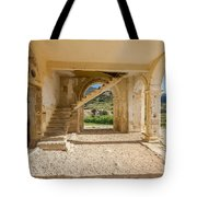 Arches, Entrance And Stairs Of Derelict Agios Georgios Church Tote Bag