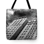 Architecture Tall Buildings Bw Nyc  Tote Bag