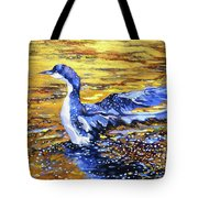 Arctic Loon On Golden Pond Tote Bag