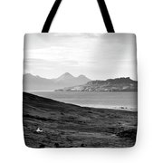 Ardnamurchan Landscape Toward The Islands Of Eigg And Rhum.    Black And White Tote Bag