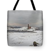 Ardvreck Castle In Winter - Panorama Tote Bag by Maria Gaellman