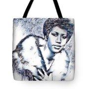 Aretha Franklin Portrait In Blue Tote Bag
