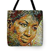 Aretha Franklin Tribute Mosaic Portrait 3 Tote Bag