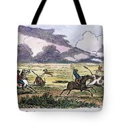 Argentina: Gauchos, 1853. Gauchos Catching Cattle On The Argentine Pampas. Wood Engraving, American, 1853 Tote Bag