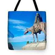 Argentinian Flag And Julio Roca-1843 To 1914-sculpture In Central Park In Bariloche-argentina  Tote Bag