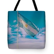 Argentinian Flag In Central Park In Bariloche-argentina  Tote Bag