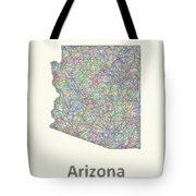 Arizona Line Art Map Tote Bag