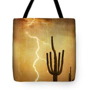 Arizona Saguaro Lightning Strike Poster Print Tote Bag