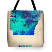 Arkansas Watercolor Map Tote Bag by Naxart Studio