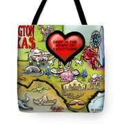 Arlington Texas Cartoon Map Tote Bag