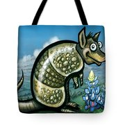 Armadillo N Bluebonnets Tote Bag