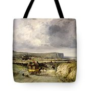Arrival Of A Stagecoach At Treport Tote Bag