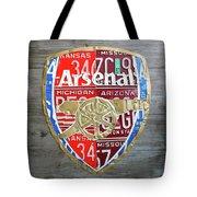 Arsenal Football Team Emblem Recycled Vintage Colorful License Plate Art Tote Bag