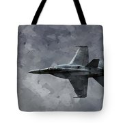 Art In Flight F-18 Fighter Tote Bag by Aaron Lee Berg