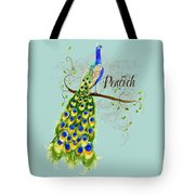 Art Nouveau Peacock W Swirl Tree Branch And Scrolls Tote Bag