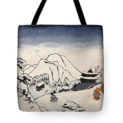 Art Of Buddhism And Shintoism And Two Paths In The Snow Tote Bag