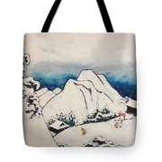 Art Of Japan And The Two Paths Of Shintoism And Buddhism - Holy Men In The Snow Without Abraham Tote Bag