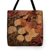 Artfully Scattered Sea Grape Leaves Tote Bag
