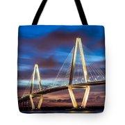 Arthur Ravenel Bridge At Night Tote Bag