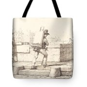 Artist Carrying Easel With A Lithographic Stone Tote Bag