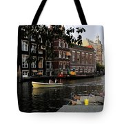 Artist On Amsterdam Canal Tote Bag