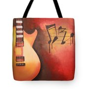 Artistic Guitar With Musical Notes Tote Bag