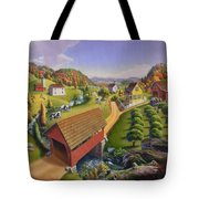 Folk Art Covered Bridge Appalachian Country Farm Summer Landscape - Appalachia - Rural Americana Tote Bag