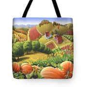Farm Landscape - Autumn Rural Country Pumpkins Folk Art - Appalachian Americana - Fall Pumpkin Patch Tote Bag