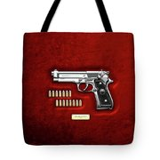 Beretta 92fs Inox With Ammo On Red Velvet  Tote Bag