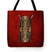 Zande War Shield With Spears On Red Velvet  Tote Bag
