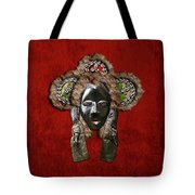 Dan Dean-gle Mask Of The Ivory Coast And Liberia On Red Velvet Tote Bag by Serge Averbukh