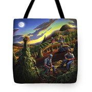 Autumn Farmers Shucking Corn Appalachian Rural Farm Country Harvesting Landscape - Harvest Folk Art Tote Bag