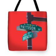 Broad And Pattison Where Philly Sports Happen Tote Bag