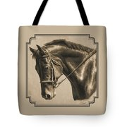 Horse Painting - Focus In Sepia Tote Bag by Crista Forest