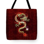 Golden Chinese Dragon Fucanglong On Red Silk Tote Bag