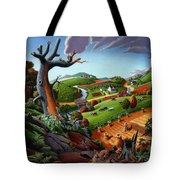 Appalachian Fall Thanksgiving Wheat Field Harvest Farm Landscape Painting - Rural Americana - Autumn Tote Bag