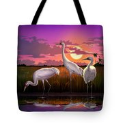 Whooping Cranes Tropical Florida Everglades Sunset Birds Landscape Scene Purple Pink Print Tote Bag